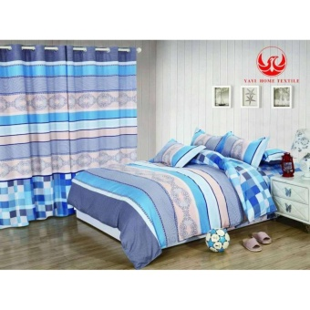 6in1 BedSheet US Cotton Classic Blue Design ( 2 pcs Pillow Case , 1pcs Fittedsheet , 1 pcs Beadsheet and 2pcs Curtain with round rings)- Single