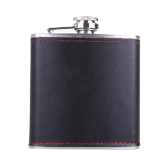 6oz Stainless Steel Hip Flask Faux Leather Wrapped Flagon Wine Pot Portable - picture 2