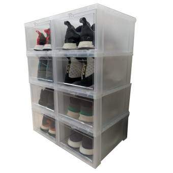 6pcs Combo Hitop Drop Front Plastic Shoe Boxesstockable/Multi-purpose storage box (Clear) - 5