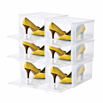 6pcs Combo Hitop Drop Front Plastic Shoe Boxesstockable/Multi-purpose storage box (Clear)