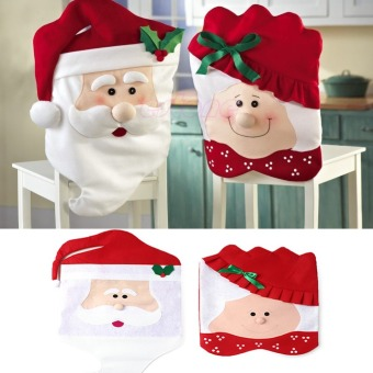 6pcs/1set Lovely Christmas Chair Covers Mr & Mrs Santa Claus Christmas Decoration Dining Room Chair Cover Home Party Decor - intl