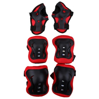 6pcs/set Knee Support Pads Elbow Protectors Wrist Guards For Children Outdoor Sports(red+balck) - intl