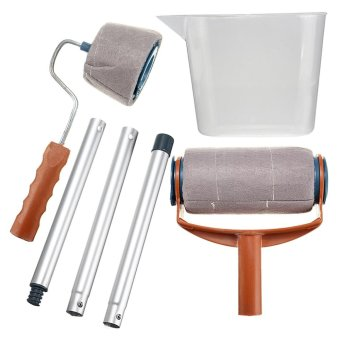 6Pcs/set Paint Roller Brush Handle Pro Flocked Edger Room Wall Painting Runner - intl