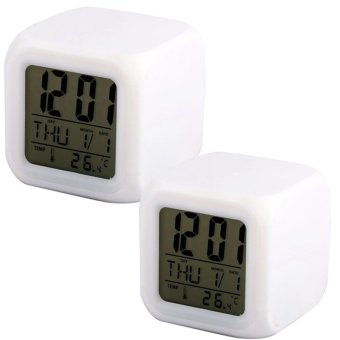 7 Color LED Luminous Light Alarm Clock White Set Of 2