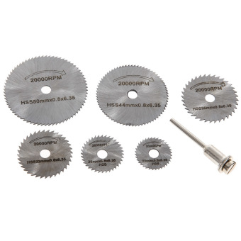 7PC Dremel Cutoff Circular Saw HSS Rotary Blade Tool Cutting DiscsMandrel