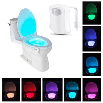 8-Color LED Motion Sensing Automatic Toilet Bowl Night Light - intl
