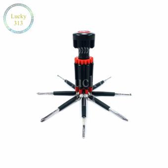 8 in One Multi-Screwdriver with LED Torch (Black/Red)