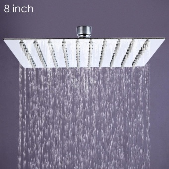 8 inch Ultra-thin Square Stainless Steel Rainfall Shower Head Top Shower - intl