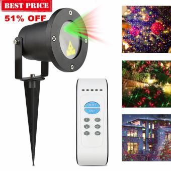 8 Pattern Red & Green Christmas Laser Garden Light Outdoor Landscape Light IR Remote Control IP65 US Plug