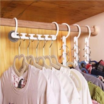 8 Pieces Portable Space Saver Wonder Magic Hanger Coat ClothesCloset Organizer Hooks(White) - 3