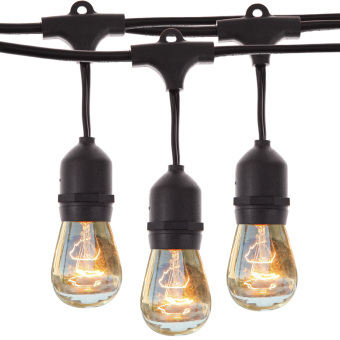 9 Vintage Patio Globe String Lights Black Cord Without Bulb