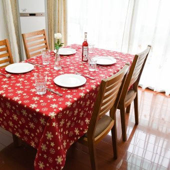 90*140cm Christmas Snowflake Joyous Table Cloth Tablecloth TableCover Manteles Para Mesa ,Red - intl