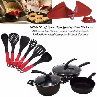 988 Ai Shi Qi 5pcs. High Quality Non-Stick Pan Set (Mocha) withKorea 6pcs Cooking Utensil Heat Resistant Ladle (Red/Black) AndSilicone Multipurpose Funnel Strainer (Red)