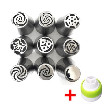 9PC Russian Tulip Flower Icing Piping Nozzles Cake Decorating Tips Tool+ Coupler - intl