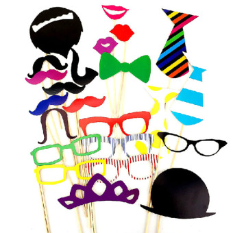 A Set of 22pcs DIY Glasses Moustache Red Lips Ties Hat On Sticks Wedding Birthday Party Halloween Photo Booth Props
