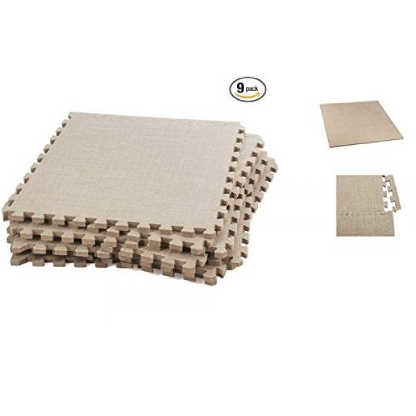 Above Edge Soft Eva Foam Interlocking Linen Floor Tiles 9 Pack