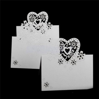 AC 50Pcs White Hollow Love Heart Table Place Cards DIY Name Display Wedding Party Invitation Decoration - intl