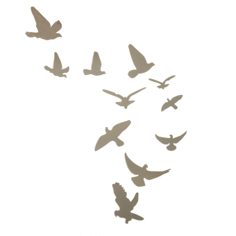 Acrylic Birds Mirror Effect Wall Sticker