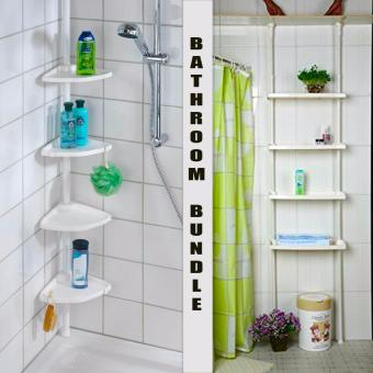 Adjustable Bathroom Corner Pole Caddy Shower Organizer WITHBathroom Shelf 4-Tier Multifunctional Storage Rack BUNDLE