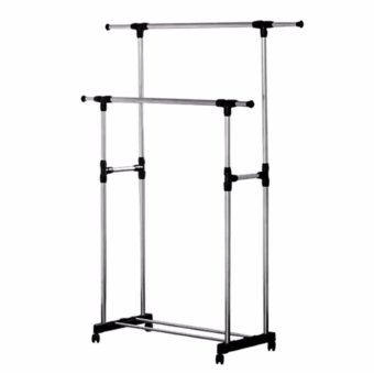 Adjustable Double Rail Garment Rack with Shoes Shelf on Wheels (Scalable) - 2