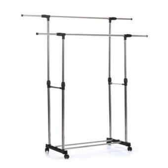 Adjustable Double Rail Garment Rack with Shoes Shelf on Wheels (Scalable) - 3