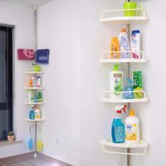 adjustable large multi bathroom corner shelf white
