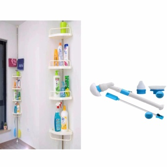 Adjustable Large Multi Bathroom Corner Shelf (White) and WallScrubber