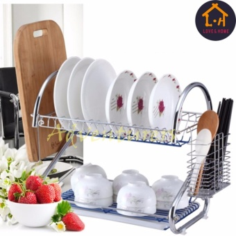 Adventurers 2 Tiers Kitchen Dish Drying Rack with Tray (Silver)