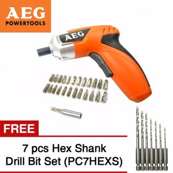 AEG SD4ELi Cordless Screwdriver + 24 pc Screw bit Set and FREE 7-Pc Hex Shank Drill Bit Set