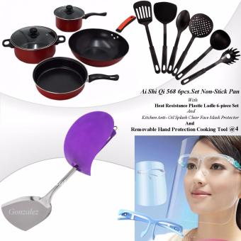 Ai Shi Qi 568 6pcs. Set Non-Stick Pan (Black/Red) with HeatResistance Plastic Ladle 6-piece set (Black) and Kitchen Anti-OilSplash Clear Face Mask Shield Protector (Blue) And Removable HandProtection Cooking Tool (Violet)@4