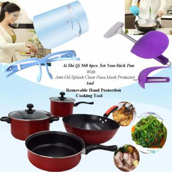 Ai Shi Qi 568 6pcs. Set Non-Stick Pan (Black/Red) with KitchenAnti-Oil Splash Clear Face Mask Shield Protector (Blue) AndRemovable Hand Protection Cooking Tool (Violet)