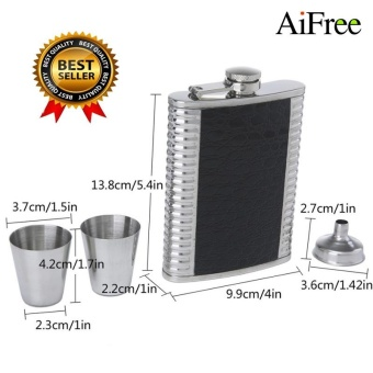 AiFree 8oz Luxury Stainless Steel Hip Flasks Set Faux Leather ChipFlagon Whiskey Wine Bottle Alcohol Pocket Flagon Gift with Two WineCup and One PourFunnel (Silver+Black) - intl