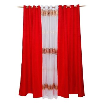 AK01 Classy Dyed Curtains with Sheer Curtain Ivory Set (Red) Price Philippines