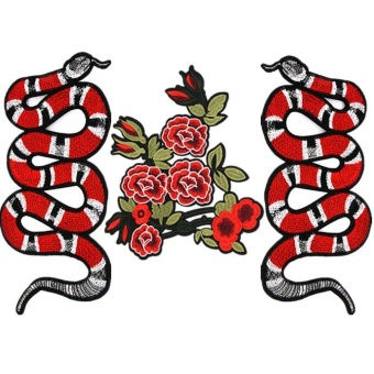 Allwin 3 Piece Rose Flower Snake Patches For Clothing Iron SewingEmbroidery Patches Red - intl