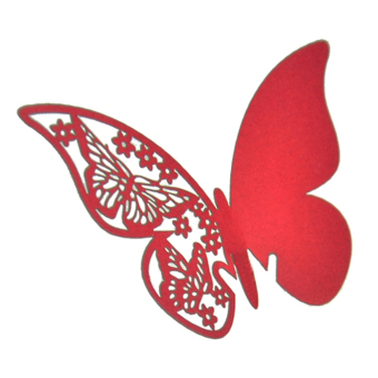 Amango Table Mark Wine Glass Butterfly Cards Set of 50 (Red)