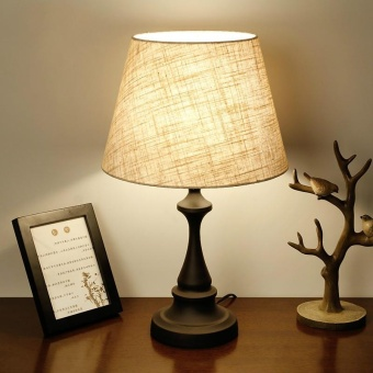 American Country Style Table Lamp Bedroom Bedside Lamp Nordic Study Room Retro Desk Lamps Simple Creative table light home decoration 30*50cm with led bulb Dimmable (Energy Class A++) - intl