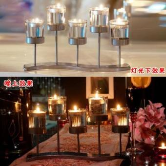 American European wrought iron glass candle holder candle