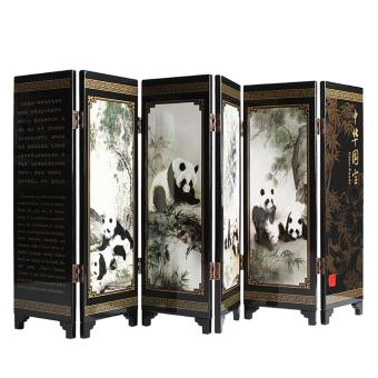 Andux Small Wooden 6-leaf Folding Screens Art Screens FGPF-01 (Panda) - intl