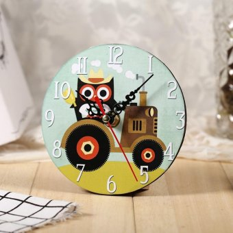 Antique Creative Vintage Owl Pattern Round Wooden Wall Clock Decoration #6 - intl