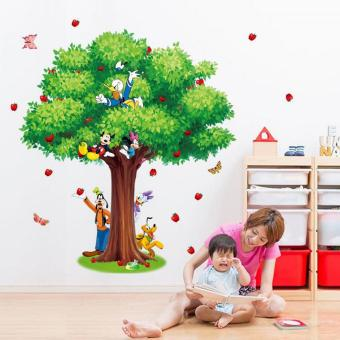Apple Tree Mickey Mouse Disney Animals Wall Sticker Decal HomeDecor PVC Murals Wallpaper House Art Picture Living Room AdultSenior Teen Kids Baby Bedroom Decoration - intl