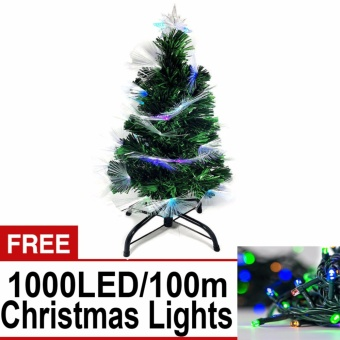 Artificial Christmas Tree w/ Built in Multicolored Lights On Tip 6Ft/180cm w FREE 1000 LED/100m Green Wire String Lights w/ 8 Functions (Multi)