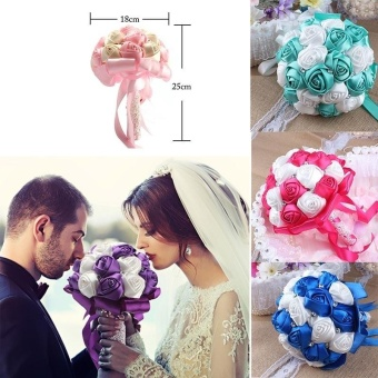 Artificial Silk Rose Wedding Flowers Bouquet Bridal Bouquetscolor:Pink - intl