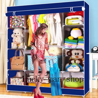 AS SEEN ON TV BIG SIZE Fashion Quality Curtain Type Multifunctional Wardrobe Storage Lockers BLUE