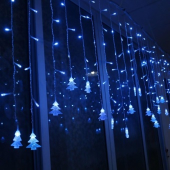 Aukur 3.5M 96LED Curtain Lights, Chtistmas Tree Style CurtainLights,8 Modes,EU Plug, Linkable Design, LED Icicle Lights forChristmas/Wedding/Party/New Year Decorations(Blue) - intl