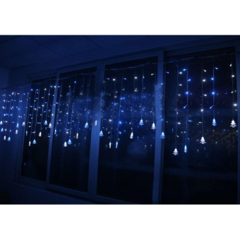 Aukur 3.5M 96LED Curtain Lights, Chtistmas Tree Style CurtainLights,8 Modes,EU Plug, Linkable Design, LED Icicle Lights forChristmas/Wedding/Party/New Year Decorations(Blue) - intl - 2