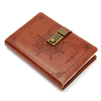 B6 112 Sheets Rudder Leather Journal Blank Diary Note Book+Password Code Lock - intl Price Philippines