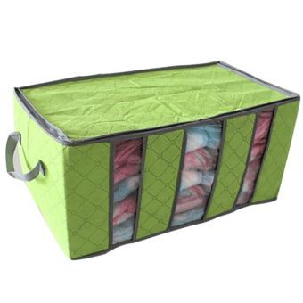 Bamboo Charcoal Practical Foldable Clothing Storage Bag Box Clothes Closet Organizer 65L light Green