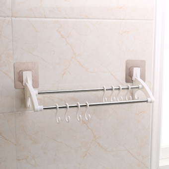 Bathroom stainless steel punched Double Pole towel bar bathroom towel rack