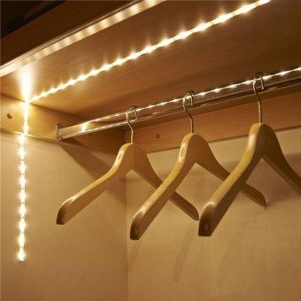 Battery Operated 1M LED Strip Light Wireless PIR Motion SensorWardrobe Cabinet - intl