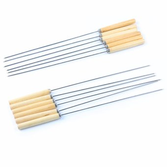 BBQ Skewers, Stainless Steel Skewers BBQ Grill Stick Needle Kebab Camping Picnic, 12 Inches, 12PCS - intl